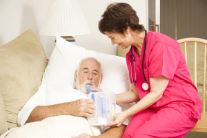 COPD patient in bed