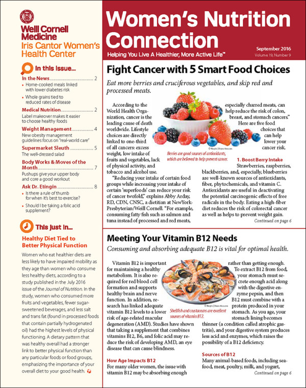 Weill Cornell Medical College  Women's Nutrition Connection