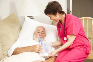 COPD patient in bed