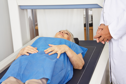 woman getting a bone scan