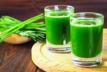 Glasses of wheatgrass, an energy-boosting food