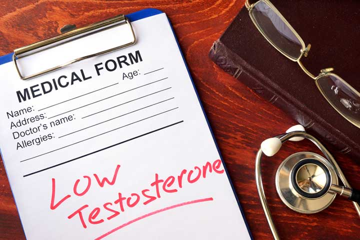 low testosterone written on a medical form