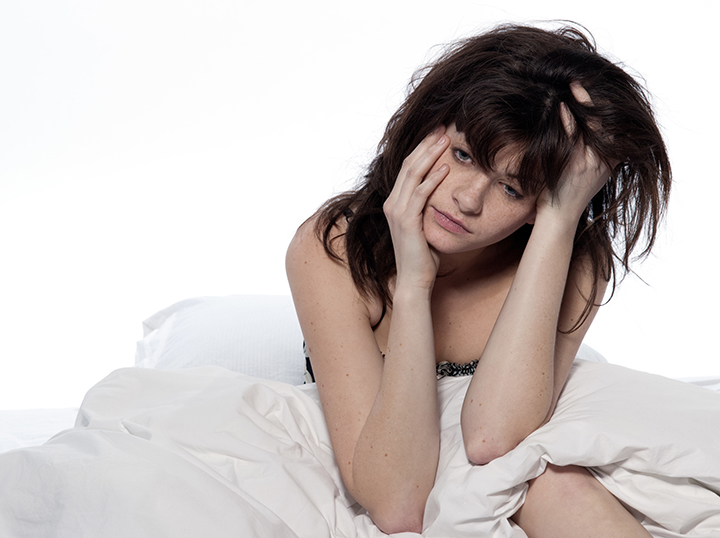 Woman suffering from lack of sleep