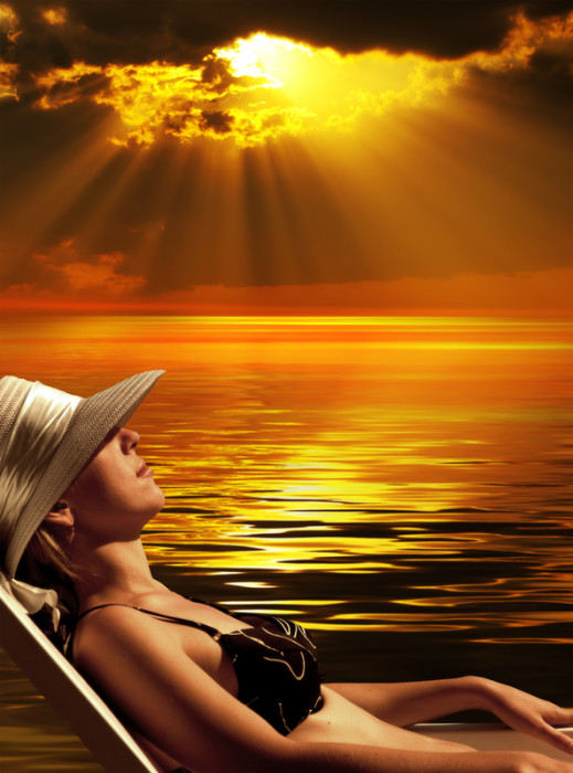 woman sunbathing